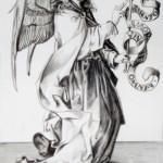 1986_37  Angyal - 17x11cm - Ezüst ceruza,papír