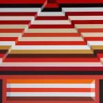 2010_4  Csíkos piros piramis - 200x180cm - Akril,vászon
